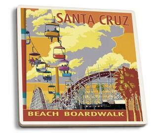 Santa Cruz, CA - Beach Boardwalk - LP Artwork (Set of 4 Ceramic Coasters)