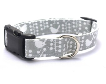 Grey Bird with Dots Collar