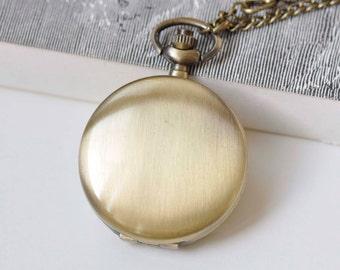 1 PC Antique Bronze Round Blank Pocket Watch 40mm  A3830