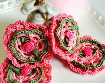 4 Crochet Raspberry Double Flowers with Satin Flower Centers., Crochet appliqués, scrap book, wedding Flowers, party favors