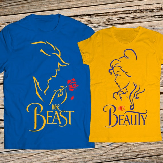His Beauty and Her Beast Couple Shirts - White - 100% cotton - Disney inspired shirts - Disney matching shirts - Couples disney gift set LMp8sc6e