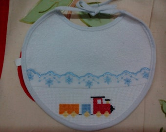 Embroidered cross stitch bib with train