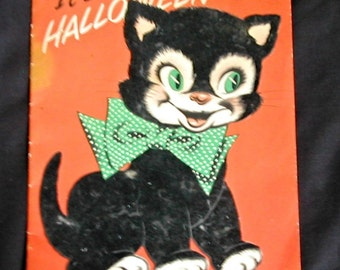Vintage Norcross King Size Fuzzy Black Cat Halloween Greeting Card