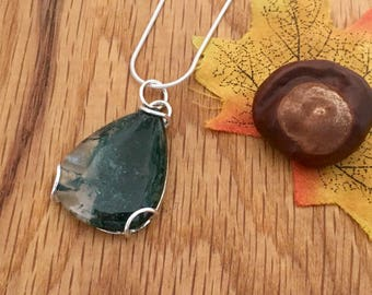 Moss Agate pendant, Moss Agate, Tear drop pendant, Pretty botanical necklace for her, Silver moss agate necklace, Michelle Giles Jewellery
