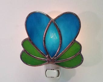 Blue Heart Stained Glass Night Light for Valentine's Day