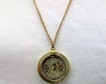 Vintage Mother Mary Rose Rotating Flip Pendant Necklace