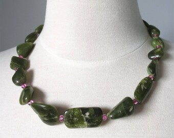 Green vessonite and pink beads short necklace. HALF PRICE Take 50% off.
