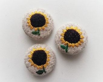 Sunflower Harris Tweed and Needle Felt Brooch