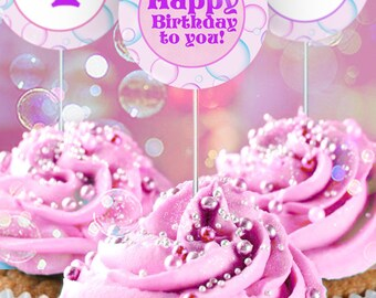 Bubbles Party Circles/Cupcake Toppers - INSTANT DOWNLOAD - partially Editable & Printable Birthday, Baby Shower Decorations, Decor, Pink