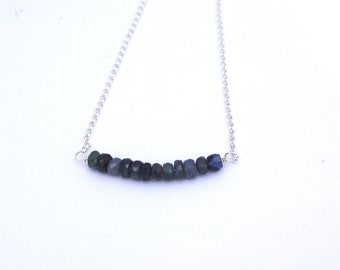Sterling Silver and 12 Blue Sapphires Necklace