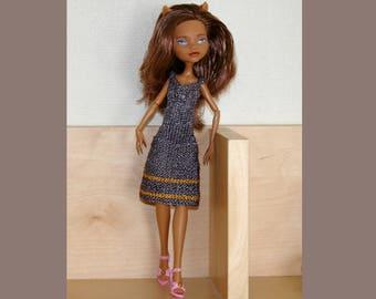 Dress- Grey - orange- anthracit - Knit for Monster High