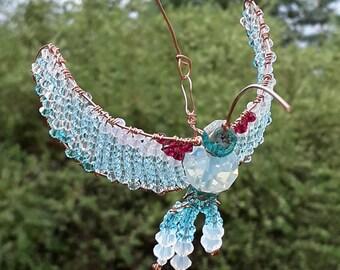 Swarovski Hummingbird Copper Wire Wrap Beaded Sun Catcher Light Blue