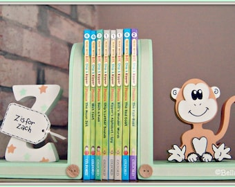 Personalised Monkey Bookends for children. Set of 2 bookends, one with a personalised initial another one with a Monkey.