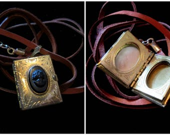 Vintage Cameo 6 Picture Locket Necklace - Deerskin Cord