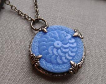 Vintage Glass Button Necklace, Cornflower Blue, Periwinkle, Antique Brass, Extra Long Chain