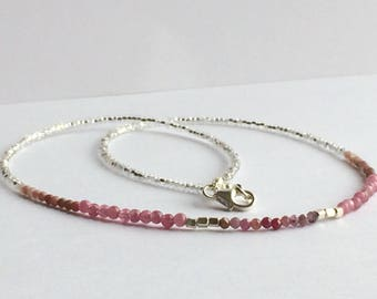 Pink sapphire, tourmaline and rhodonite beaded necklace, sterling silver, natural gemstone jewellery, boho chic