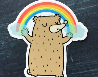 Rainbow Gratitude Bear Sticker, laptop sticker, phone sticker, water bottle sticker, bumper sticker