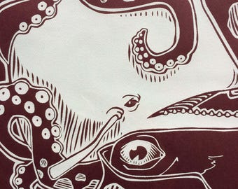 Giant Squid & Sperm Whale, hand-pulled screen print