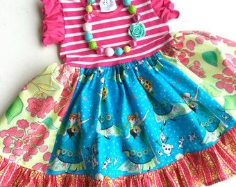 Disney on Ice Frozen Fever dress Momi boutique girls disney dress