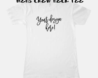 Men's Fitted Crew Tee  White 5 sizes S- 2XL chose the design from my prints collection or have me make one for you, customize unique gift