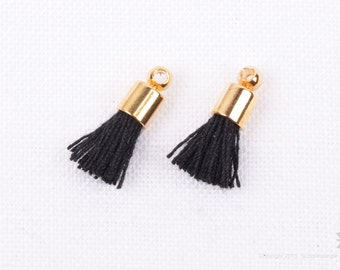 T012-BK// Gold Plated Cap 12mm Black Mini Cotton Tassel, 6 pcs