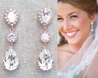 Cubic Zirconia and Swarovski Crystal Pavé Rose Gold Long Dangling Teardrop Bridal Post Earrings, Faux White Diamond Halo Wedding Jewelry