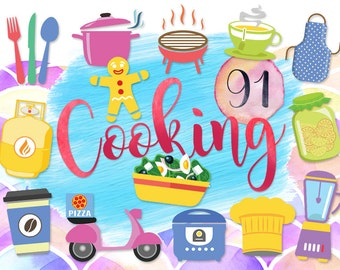 """91 Cute Cooking Clipart: """"KITCHEN CLIPARTS"""" Cutlery, Pot, BBQ, Tea Cup Time, Apron, Glass Jar, Mixer, Coffee Mug Gingerbread Man Rice Cooker"""