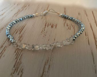 Herkimer Diamond Bracelet with Light Blue Pyrite Faceted Rondelle Beads.  Herkimer Diamond Bracelet