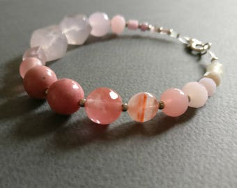 Princess. Multi gemstone unique bracelet. Free shipping.