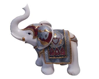 """Statue of """"Mykene"""" resin elephant, Height 6,7 Inches / 17 cm, for decoration or collection. Model 2"""