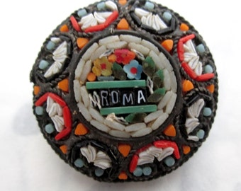 vintage Roma Italian micro mosaic Rome tourist souvenir brooch pin Venetian glass - j6434