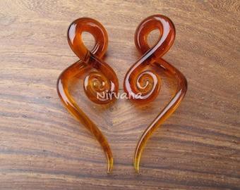 "Amber Glass Note Spirals 10g 8g 6g 4g 2g 0g 00g 7/16"" 1/2"" 9/16"" 5/8""  2.5 mm 3 mm 4 mm 5 mm 6 mm 8 mm 10 mm 12 mm 14 mm 16 mm"