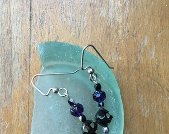 """Swarovski clear & black """"cosmo"""" beads with purple glass rose beads with sterling ear wire"""