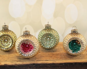 4 Shiny Brite Double Indent Mercury Glass Ornaments, Waffle Ornaments, Bumpy, Reflector, Vintage Mid Century Christmas, Antique glass, pink