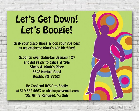 Get Down and Boogie 70s Invitation Printable or Printed w