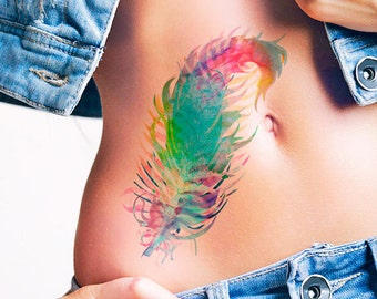 Feather watercolor - Temporary tattoo