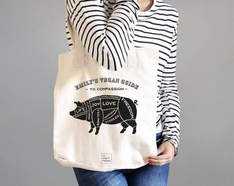Personalised Vegan Message Tote Bag - Guide To Compassion - Vegan Bag - Gift For Vegan - Vegan Gift - Vegan Tote Bag