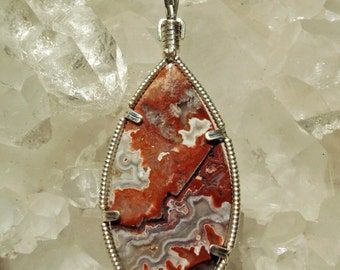 Mexican Crazy Lace Agate Pendant in Silver -- BullMarket