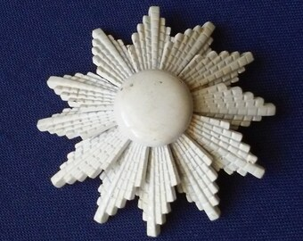Vintage Art Deco White Enamel Flower Brooch Pin by Monet Signed