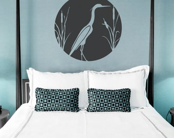 Heron and Cattails Wall Decal - Nature Wall Decal, Bird Wall Sticker, Heron Decal, Cattails Decal, Blue Heron Art, Bird Decal Sticker
