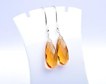 Handmade 925 Silver Quartz Silver Earrings,Silver Earrings,Pear Earrings,Yellow Quartz Briolette Earrings-Yellow Earrings (2639)