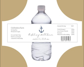 150 Nautical Beach Anchor water bottle labels - Wedding favors