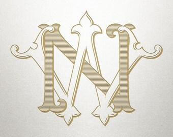 Custom Monogram Design - NW WN - Custom Monogram - Vintage
