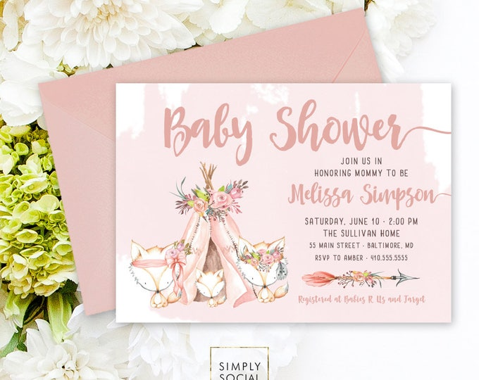 Woodland Fox Baby Shower Invitation - Mother, Father and Baby Fox Shower Invitation Boho Teepee Feathers Arrow Floral Forest Friends