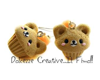 Cupcake earrings - bear - vanilla muffin - miniature polymer clay and cernit - gift idea