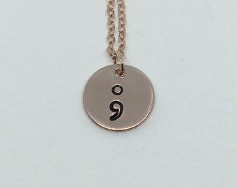 16k Rose Gold Plated Semicolon Necklace, Personalized