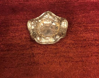 Sterling bon bon dish with Hallmark and repousse + raised scroll work