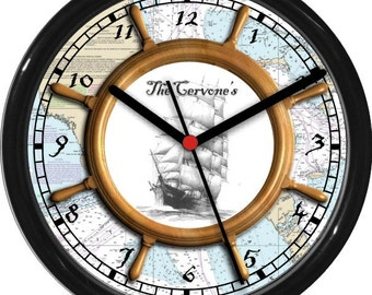 "Personalized 10"" Nautical Wheel 2 Wall Clock Ships Wheel Clipper Ship Gift"
