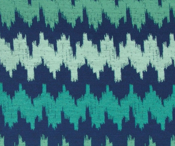 Mint Green Navy Blue Abstract Upholstery Fabric Teal Woven