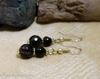 Sparkling Faceted Black Agate Silver Dangle Earrings